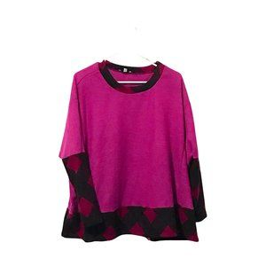 White Birch Soft Purple Pullover Geo Printed Oversized Sweater S